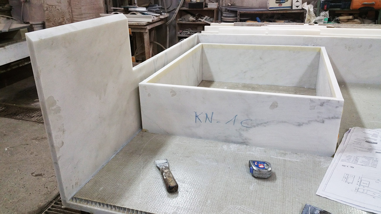 Processing of a integrated marble washbasin