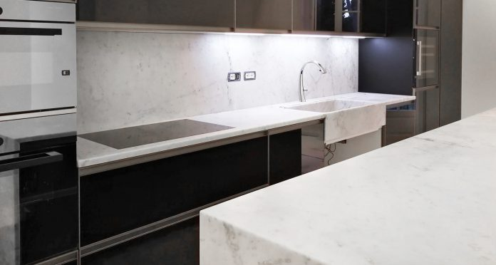 Custom Marble Design for Apartment with Kitchen Island, Bathroom and Inlaid Floor