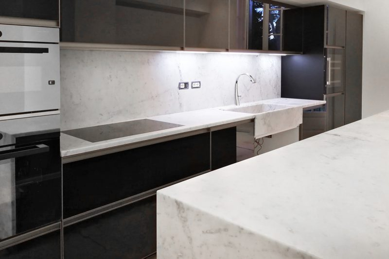 Custom marble design for apartment kitchen bathroom