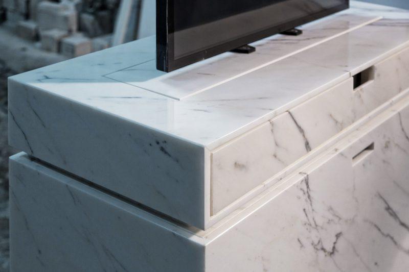 custom tv white lift cabinet