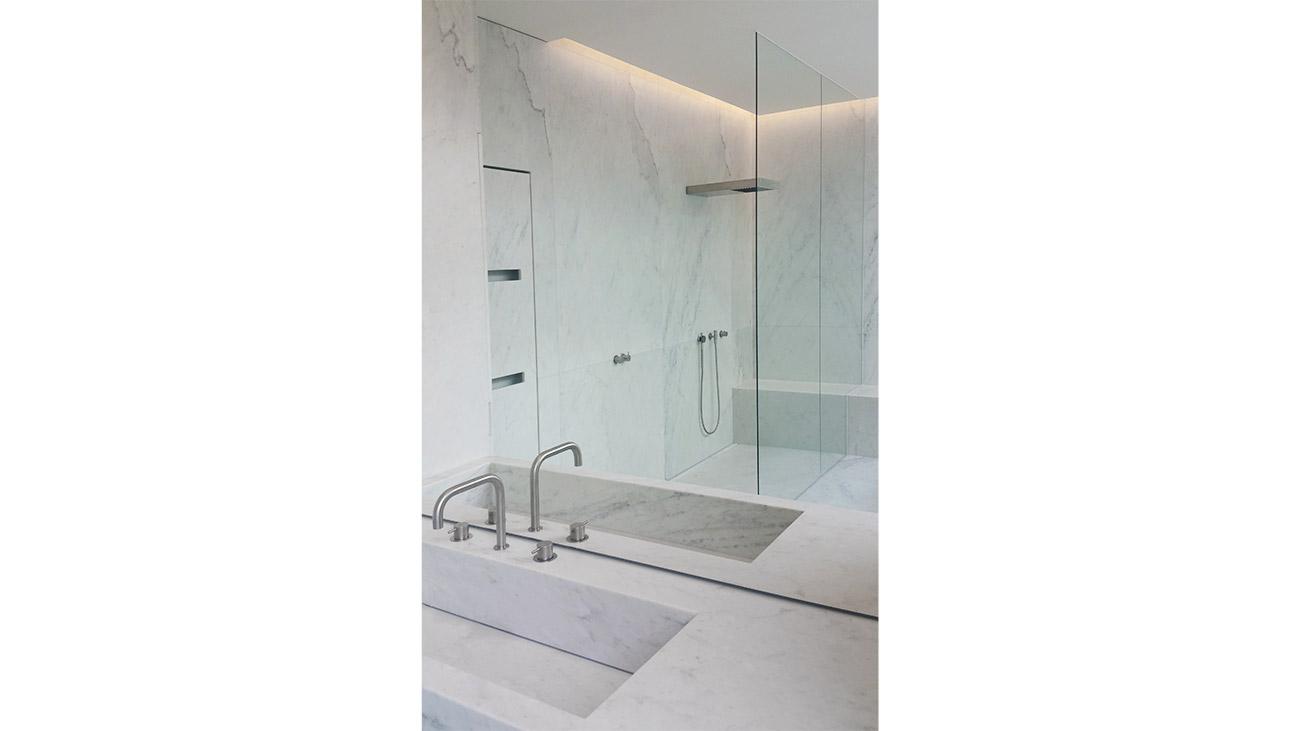 White Carrara marble sink