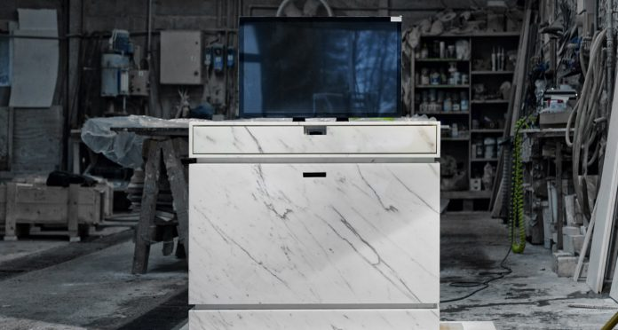 Motorized lift tv cabinet in marble