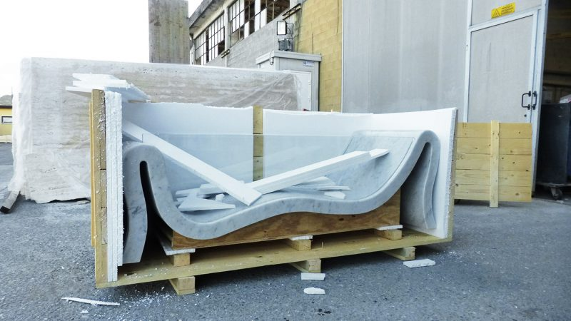 Processing of our bathtub Hydra made of marble and glass