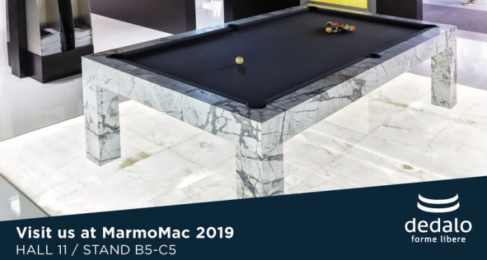 Visit us at MarmoMac 2019 – Dedalo presents its Living Room with Pool Table and Marble Floor