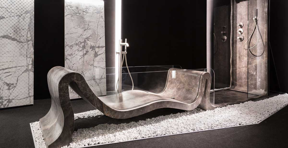 luxury marble bathtub in natural stone made in italy