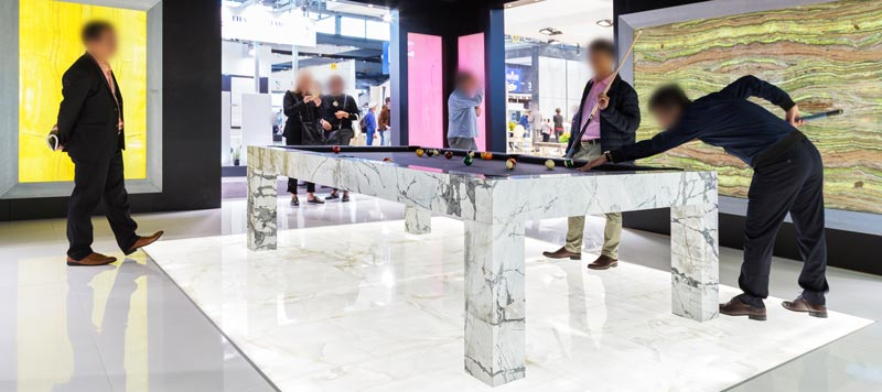 marble pool table made in carrara by dedalo stone