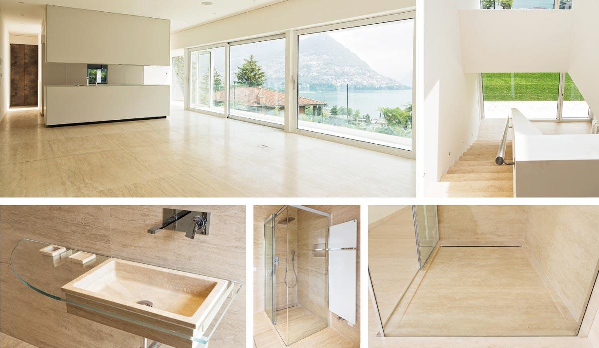 Progetti di interior design di lusso su misura in marmo onice travertino e pietra a Carrara by dedalo