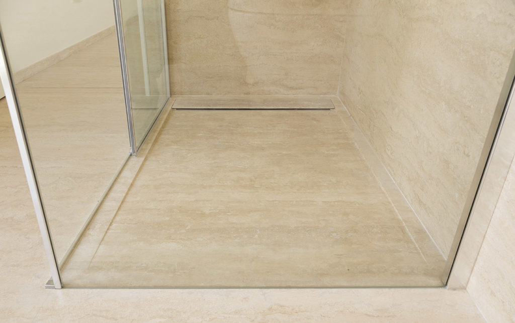 travertine shower base and shower