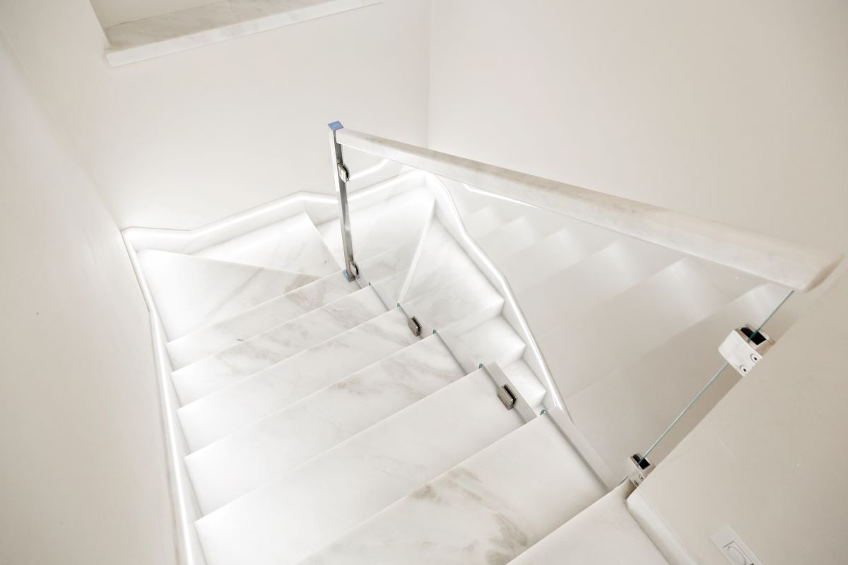 white carrara marble indoor stair