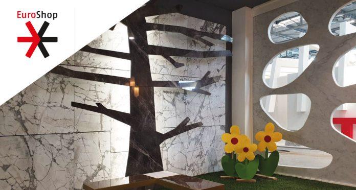 Arredamento in marmo e pietre preziose alla fiera EuroShop dedicata all'arredamento di uffici e negozi