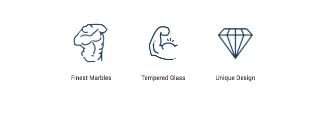 Finest marble, unique design and tempered glass