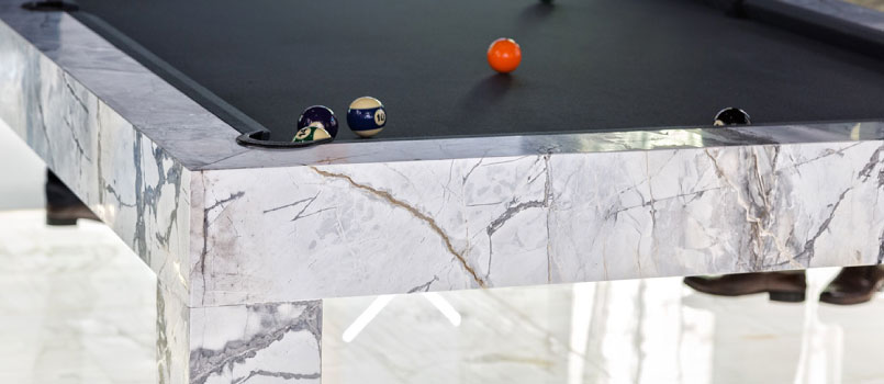 Luxury pool and billiard tables in marble