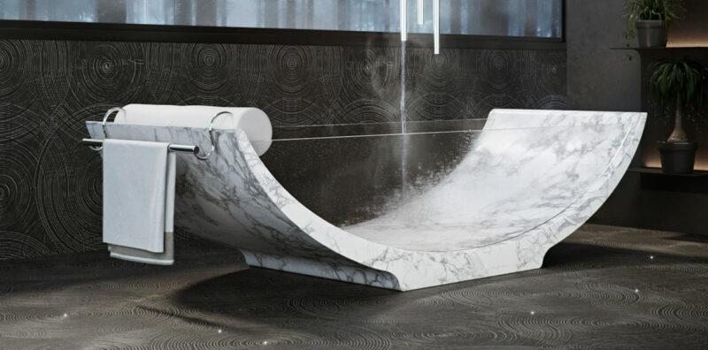 Vasca da bagno in marmo e vetro
