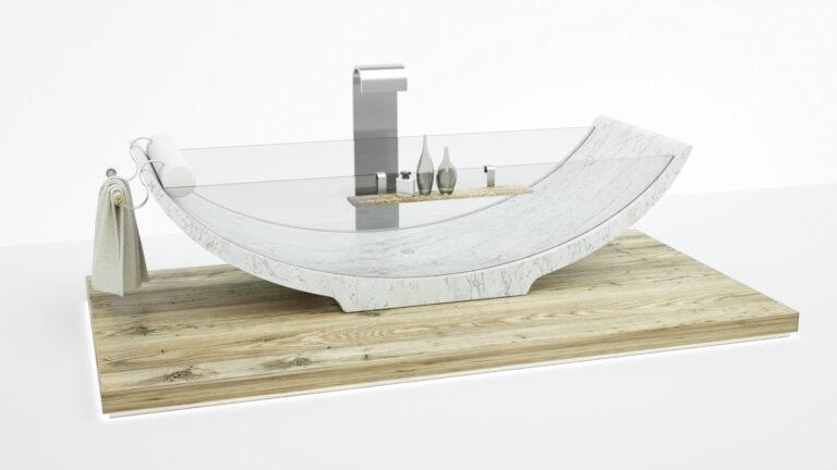 Vasca da bagno in marmo e vetro - Lira - Dedalo Stone