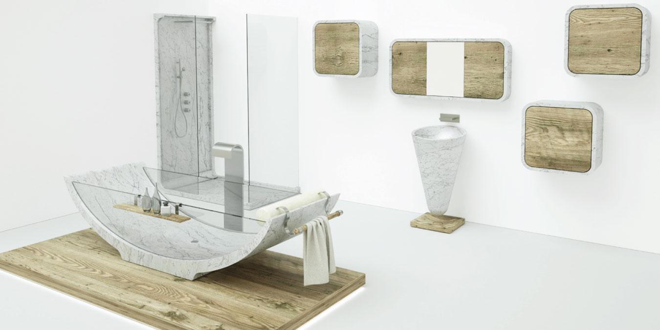 vasca in marmo bianco con bagno