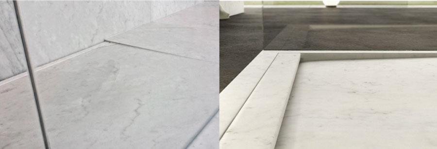 piatto doccia in marmo bianco di carrara moderno