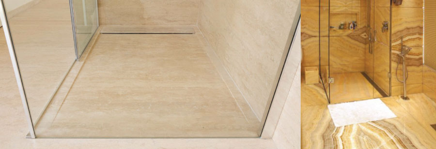 Flush-to-floor marble shower base