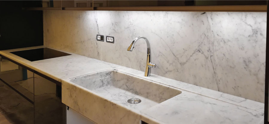 marble cladding for kitchen wall