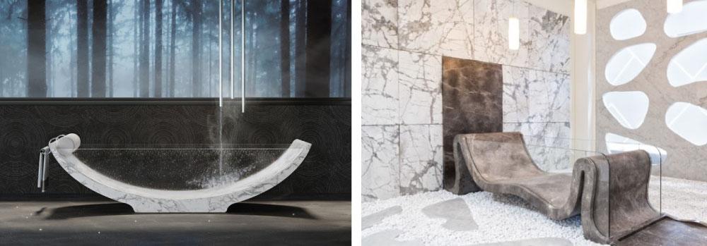 vasche da bagno in marmo bianco