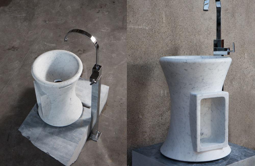 white carrara pedestal sink