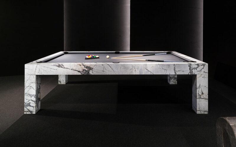 white marble billiard table