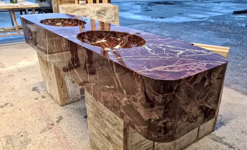 red marble sink