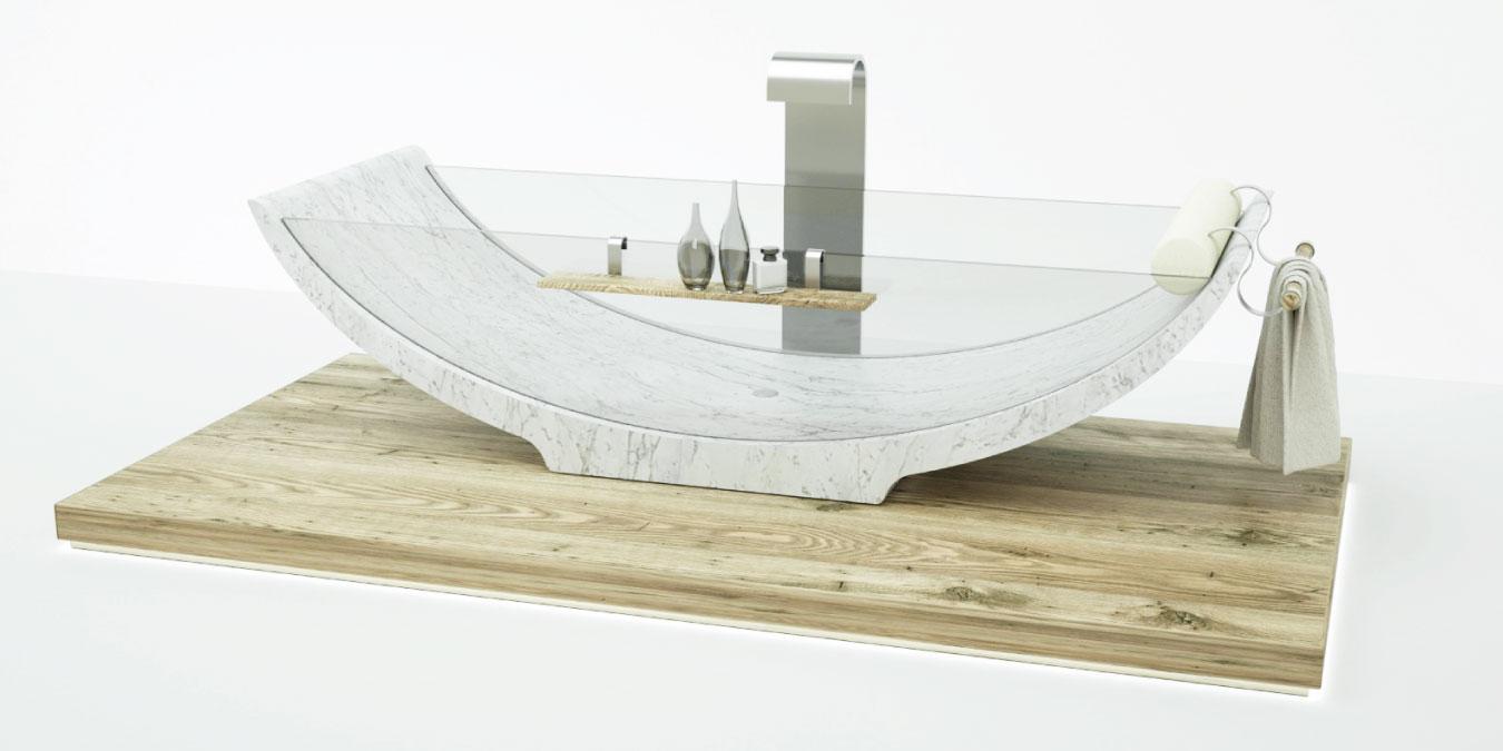 marble and glass bathtub